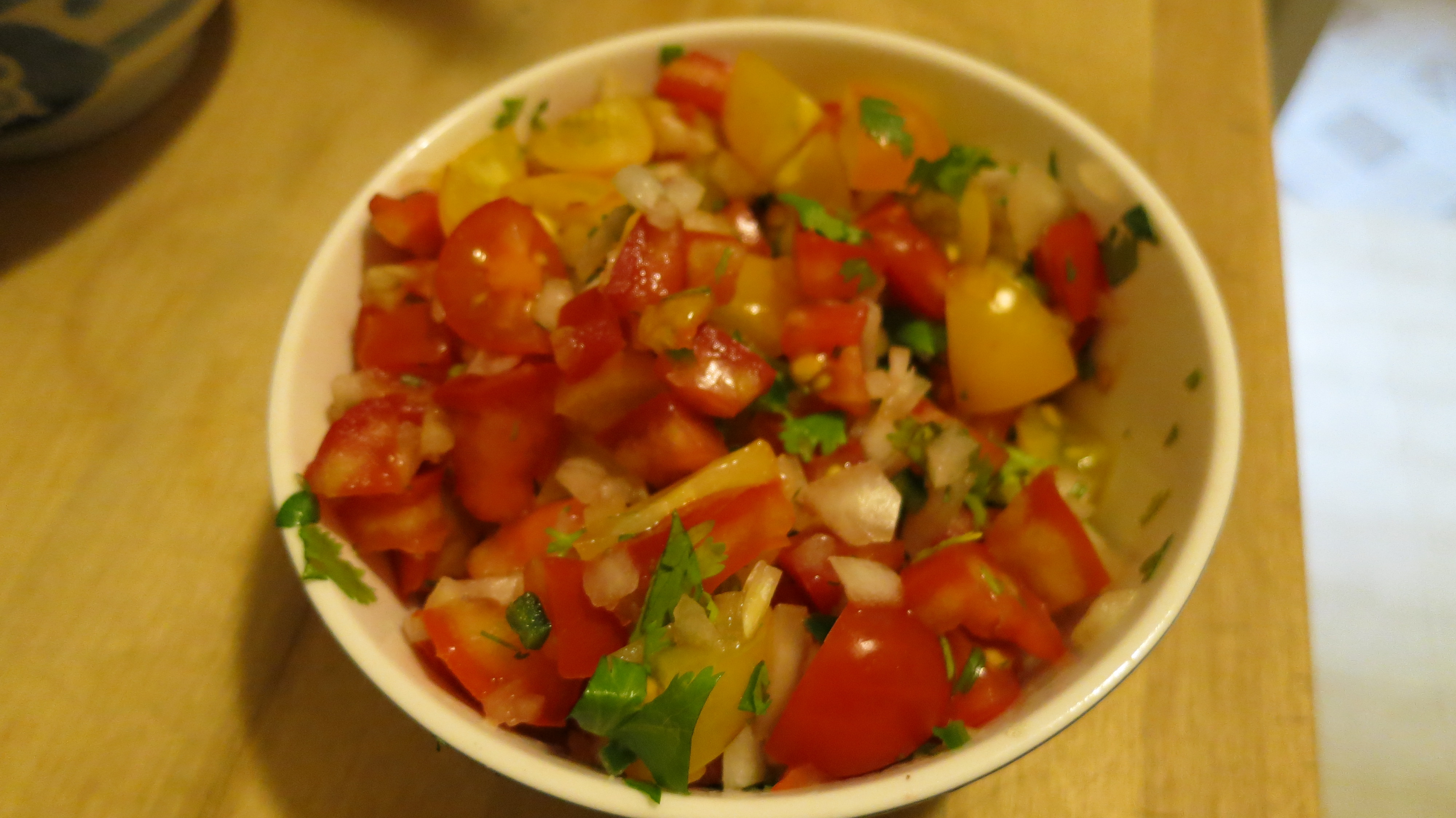 Pico de Gallo with heirloom tomatoes and yellow cherry tomatoes