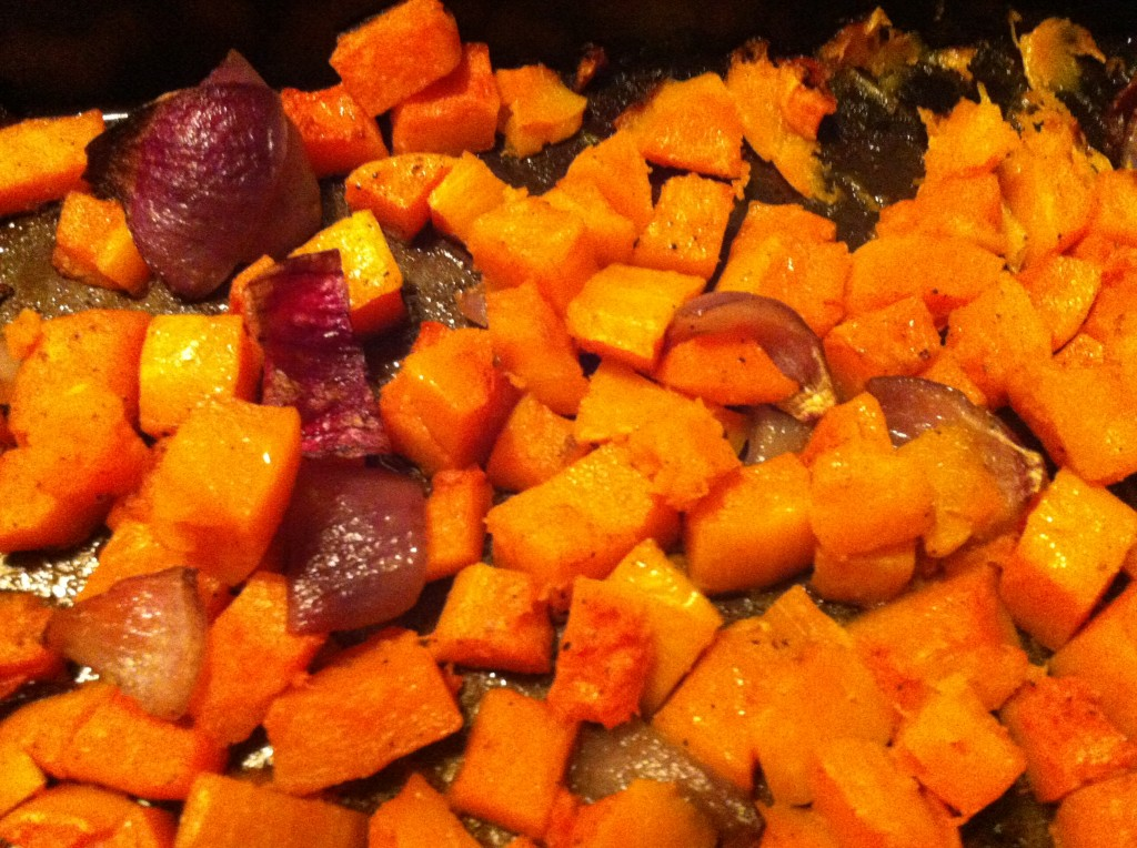 Butternut Squash Roasted in Coconut Oil, with Roasted Red Onion